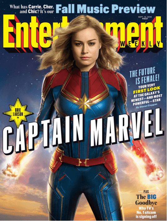 Brie Larson como Capitã Marvel na capa da Entertainment Weekly