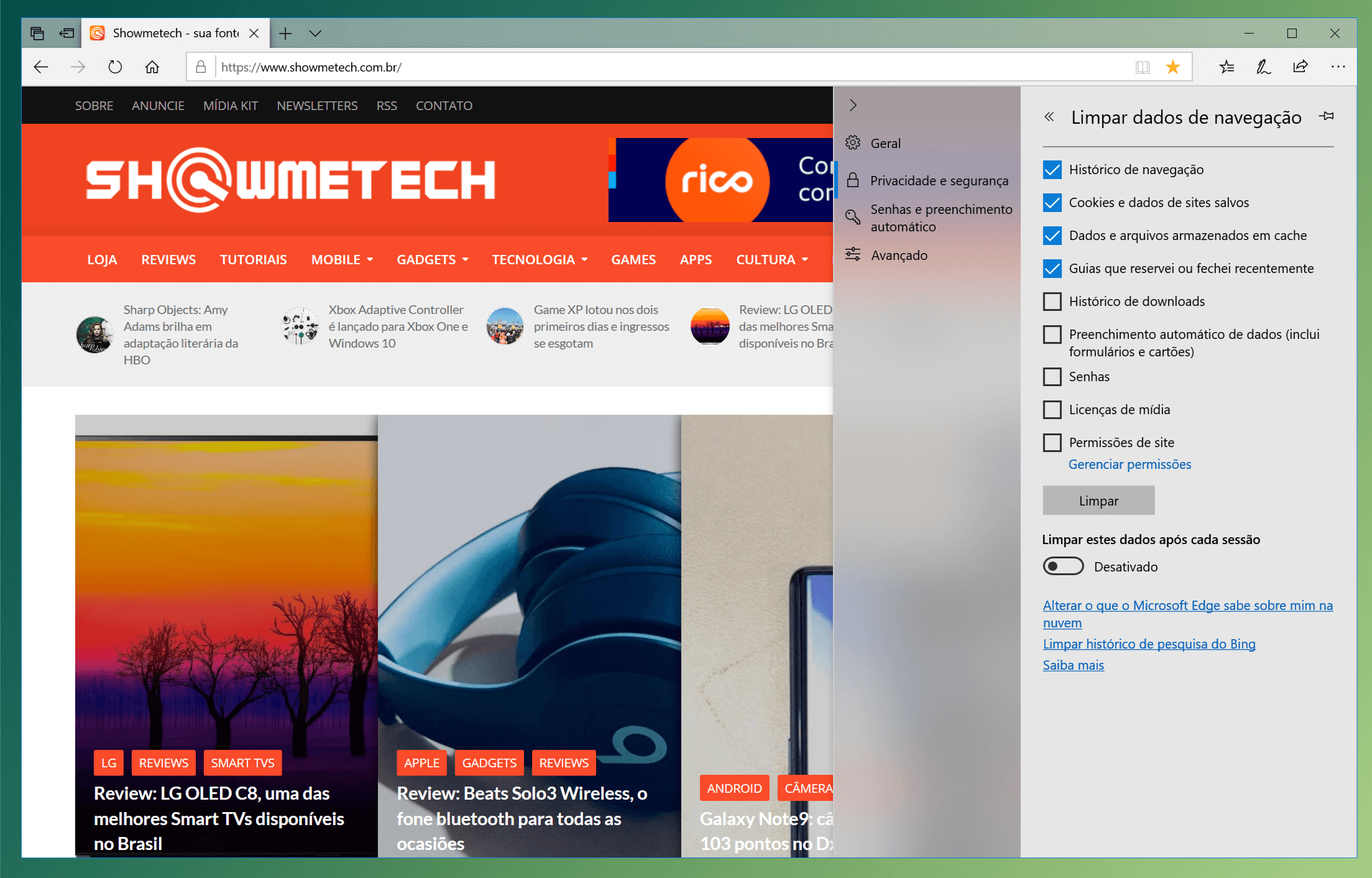 apagar historico cache navegador browser windows 10 Microsoft Edge - Limpeza do browser: aprenda a limpar a cache e histórico do navegador