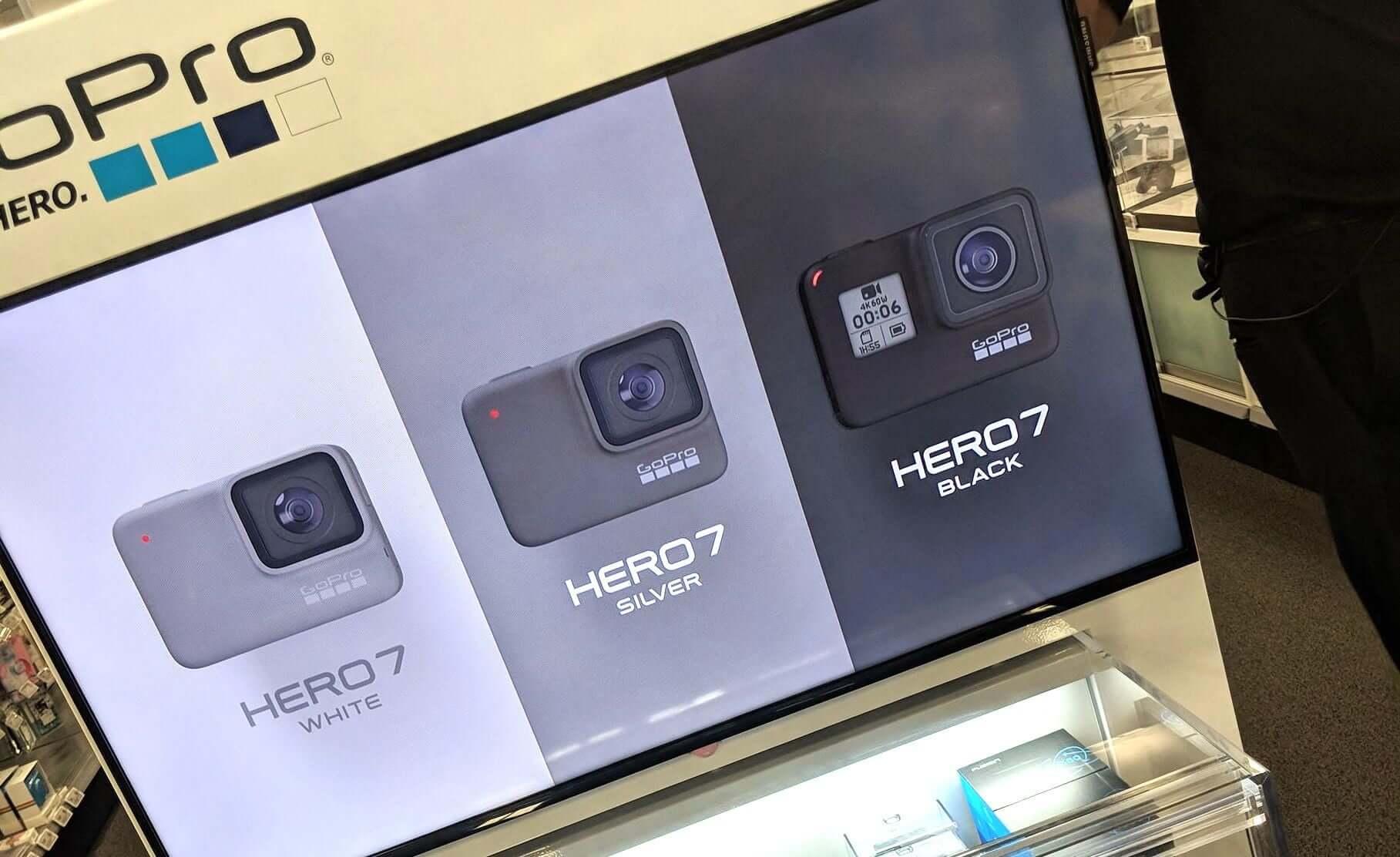 A nova Hero 7 aparece nas cores cinza, branco e preto