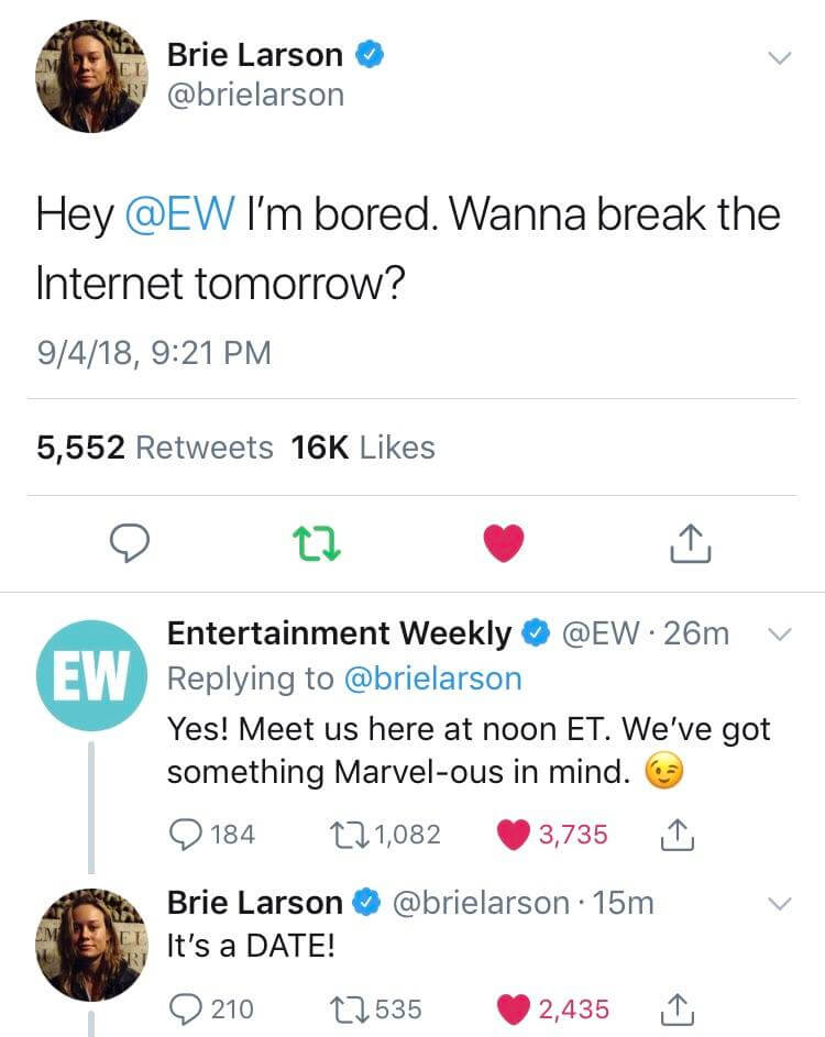 "Tweet de Brie Larson convidando a revista Entertainment News para ""quebrar a internet"""