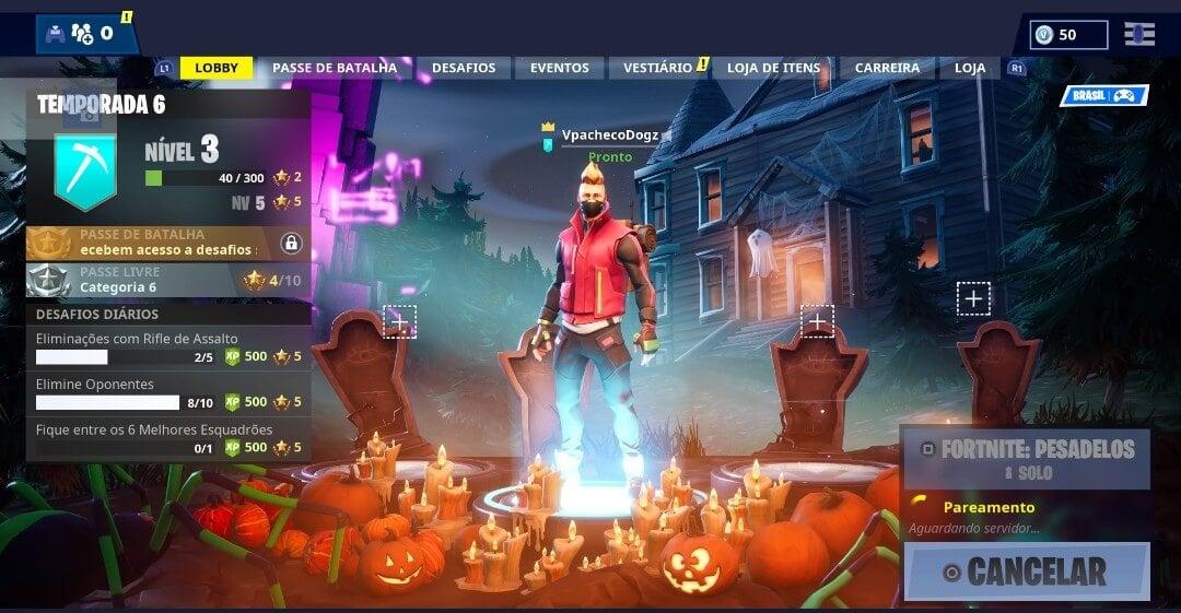 Nova tela inicial do Fortnitemares: evento de Halloween do Fortnite