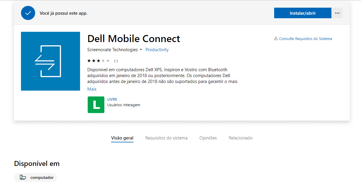 Tela de download do aplicativo dell mobile connect