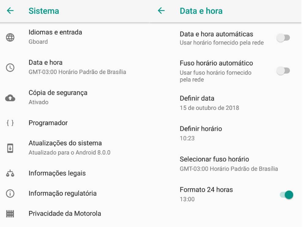 Foto que mostra como resolver problema do relógio adiantado no Android