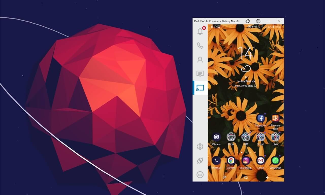 Tela de smartphone espelhada no computador, graças ao Dell Mobile Connect