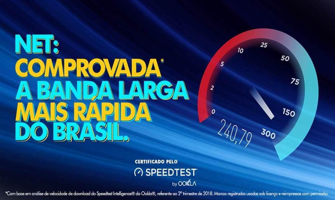 Banner informativo da banda larga net em que a empresa diz que possui a internet mais rápida do brasil