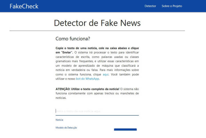 Página do FakeCheck