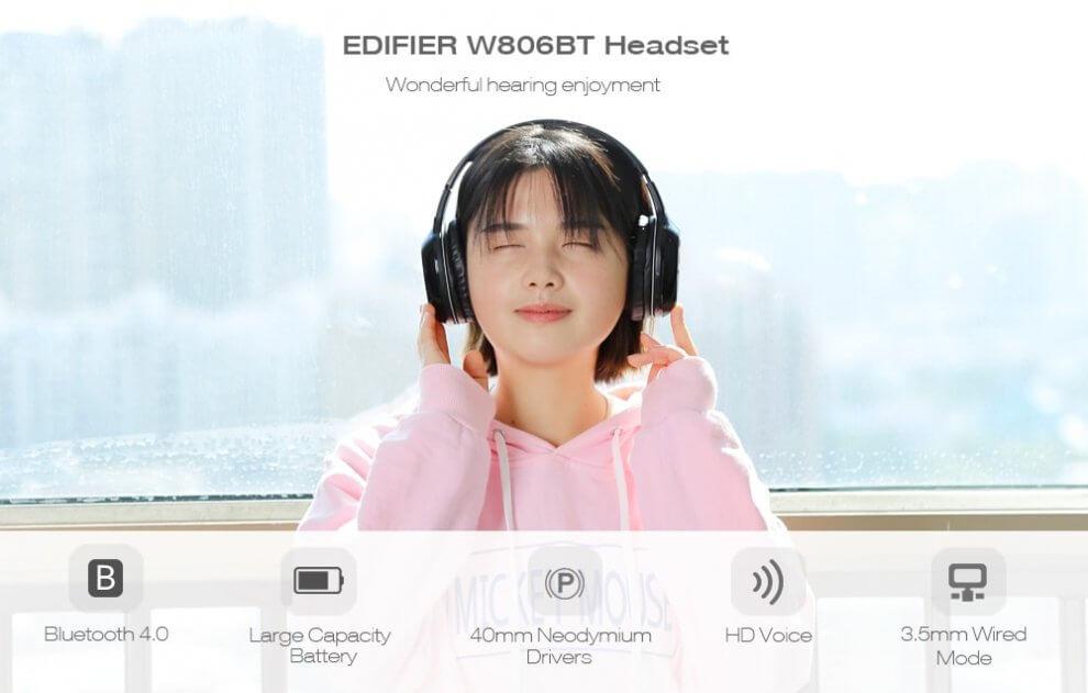 UTB8.9DOuOaMiuJk43PTq6ySmXXaA 990x631 - Fone de ouvido sem fio EDIFIER W806BT tem 56% de desconto na TomTop