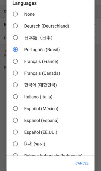 Lista de novos idiomas do Google Home
