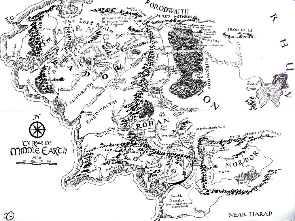 middle earth map by kilbeth d313jvn - Mapas fantásticos: como os autores imaginam seus mundos da ficção