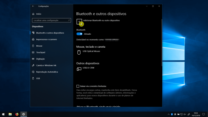 Adicionar Bluetooth ou outro dispositivo