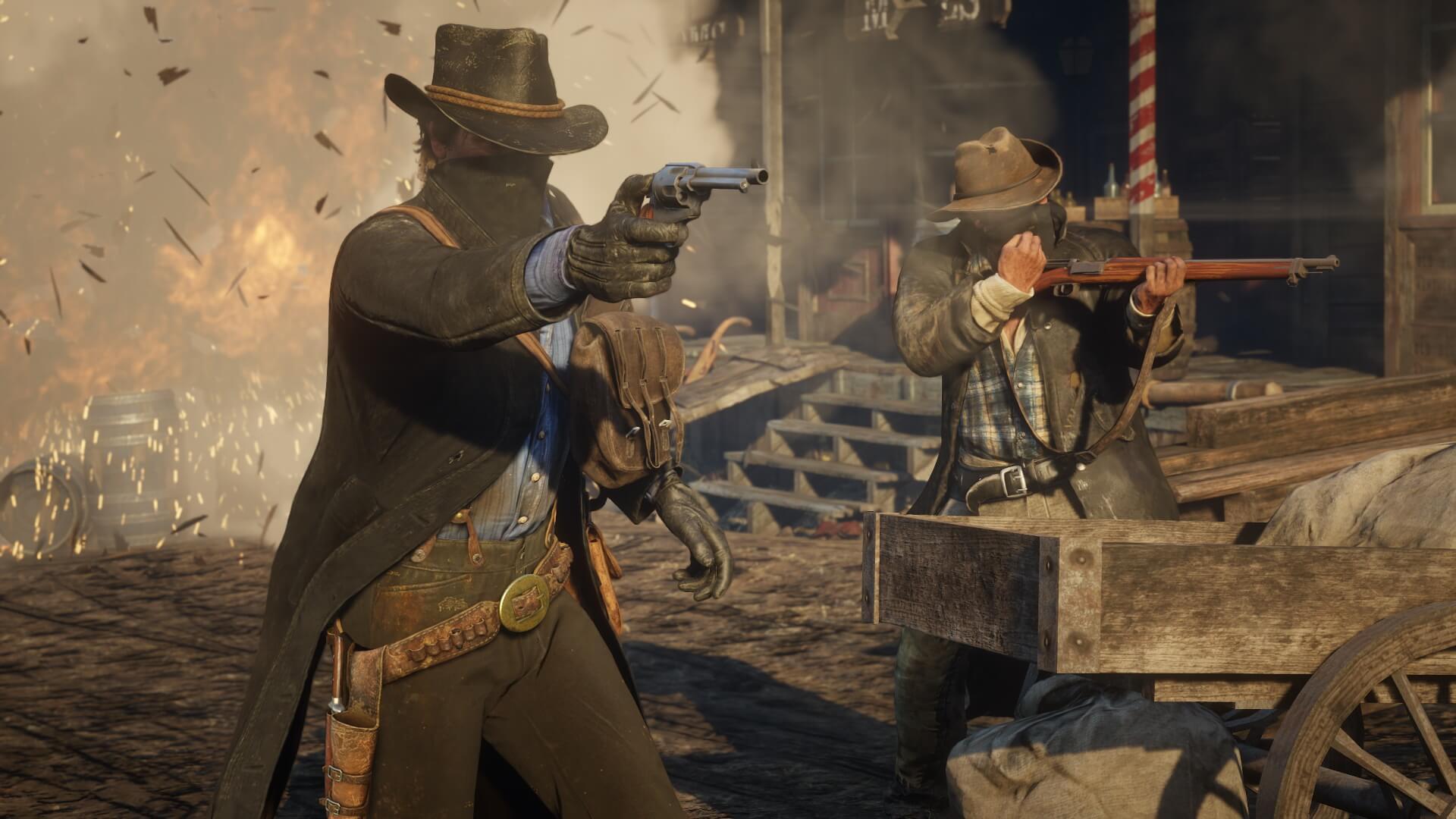A variedade e fidelidade das armas de fogo impressiona. Arthur é um atirador e tanto, e mostra toda sua habilidade mundo afora.