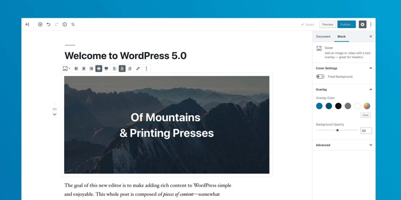 block editor preview 1 1320x660 - Nova atualização do Wordpress 5.0 já está disponível e traz novidades