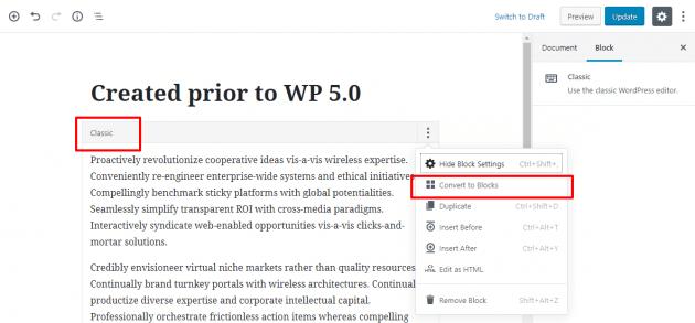 classic block 630x293 5555 - Nova atualização do Wordpress 5.0 já está disponível e traz novidades