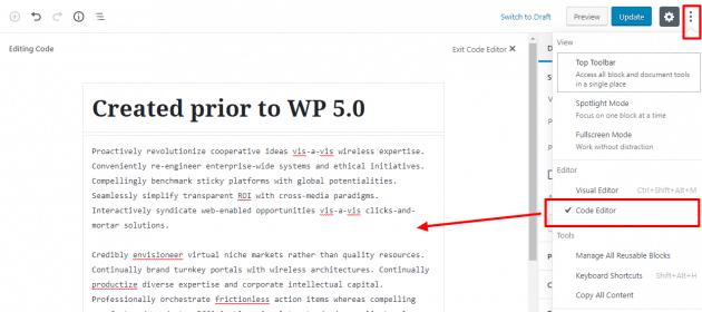 code editor copy 630x280 66666 - Nova atualização do Wordpress 5.0 já está disponível e traz novidades