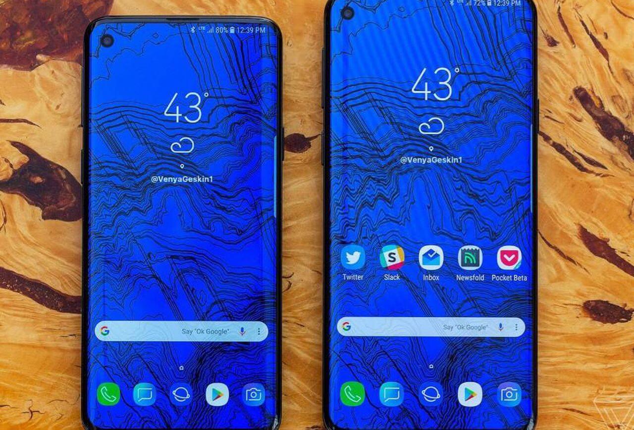Três possíveis imagens do novo galaxy s10, sendo exibidos com uma tela azul