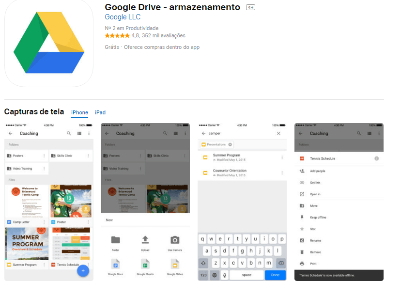 Tela de download do google drive na app store