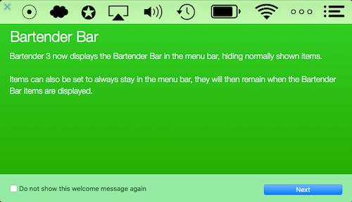 Captura de tela do aplicativo Bartender 3 em funcionamento