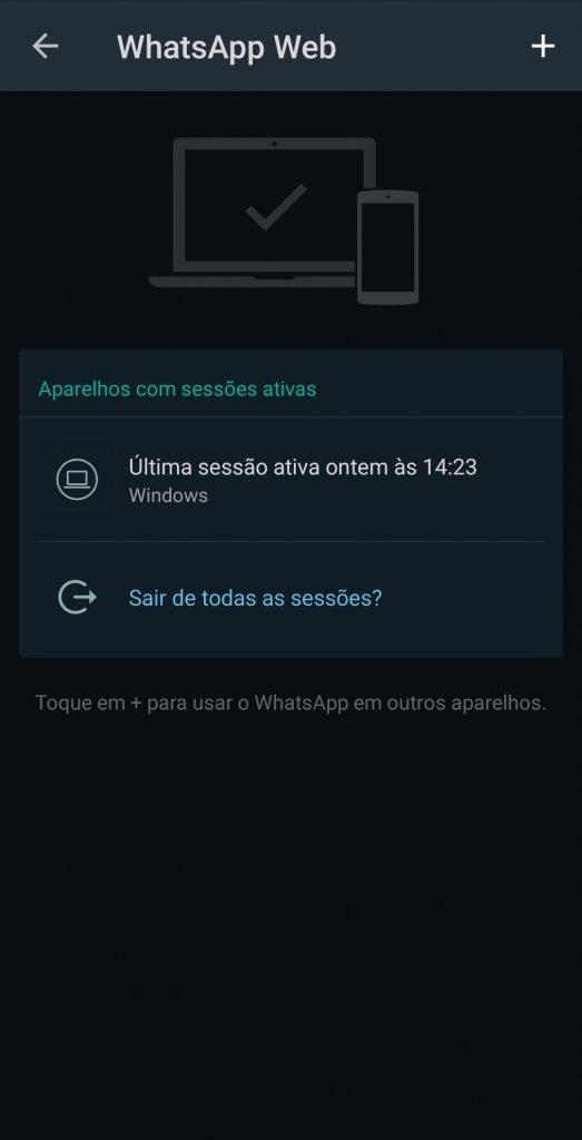 Tela do whatsapp mostrando os computadores conectados à sua conta