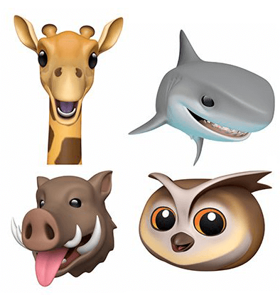 Novos animoji: girafa, tubarão, javali e coruja