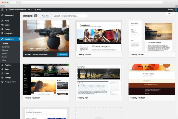 O WordPress oferece uma variedade de temas e um painel intuitivo