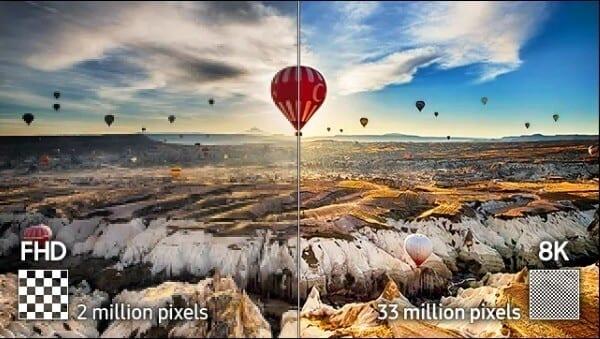 33 milhões de pixels da qled 8k