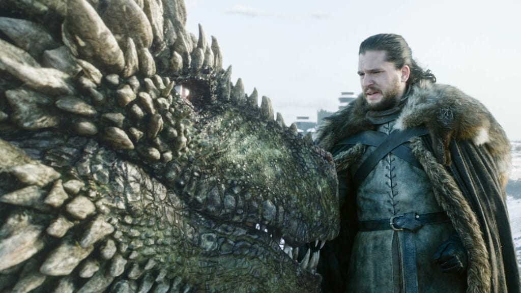 Jon Snow monta Rhaegal no primeiro episódio da oitava temporada de Game of Thrones.