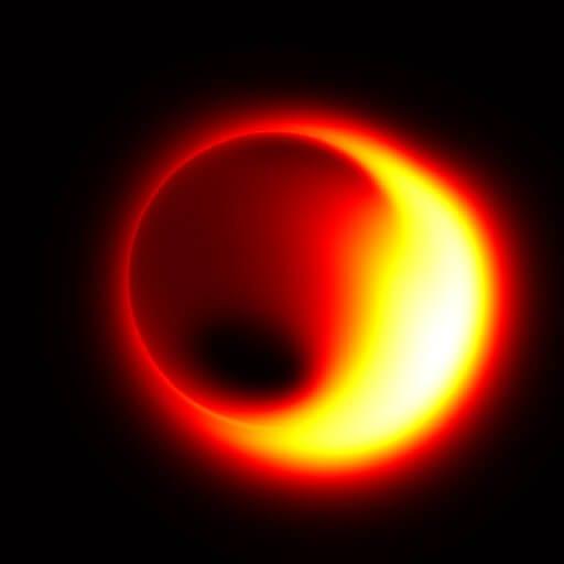 Simulação de um buraco negro observado pelo EHT. Imagem: Avery Broderick