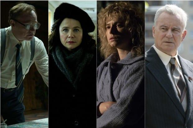 Da esquerda para a direita: Jared Harris, Emily Watson, Jessie Buckley e Stellan Skarsgårdde estrelam o docudrama