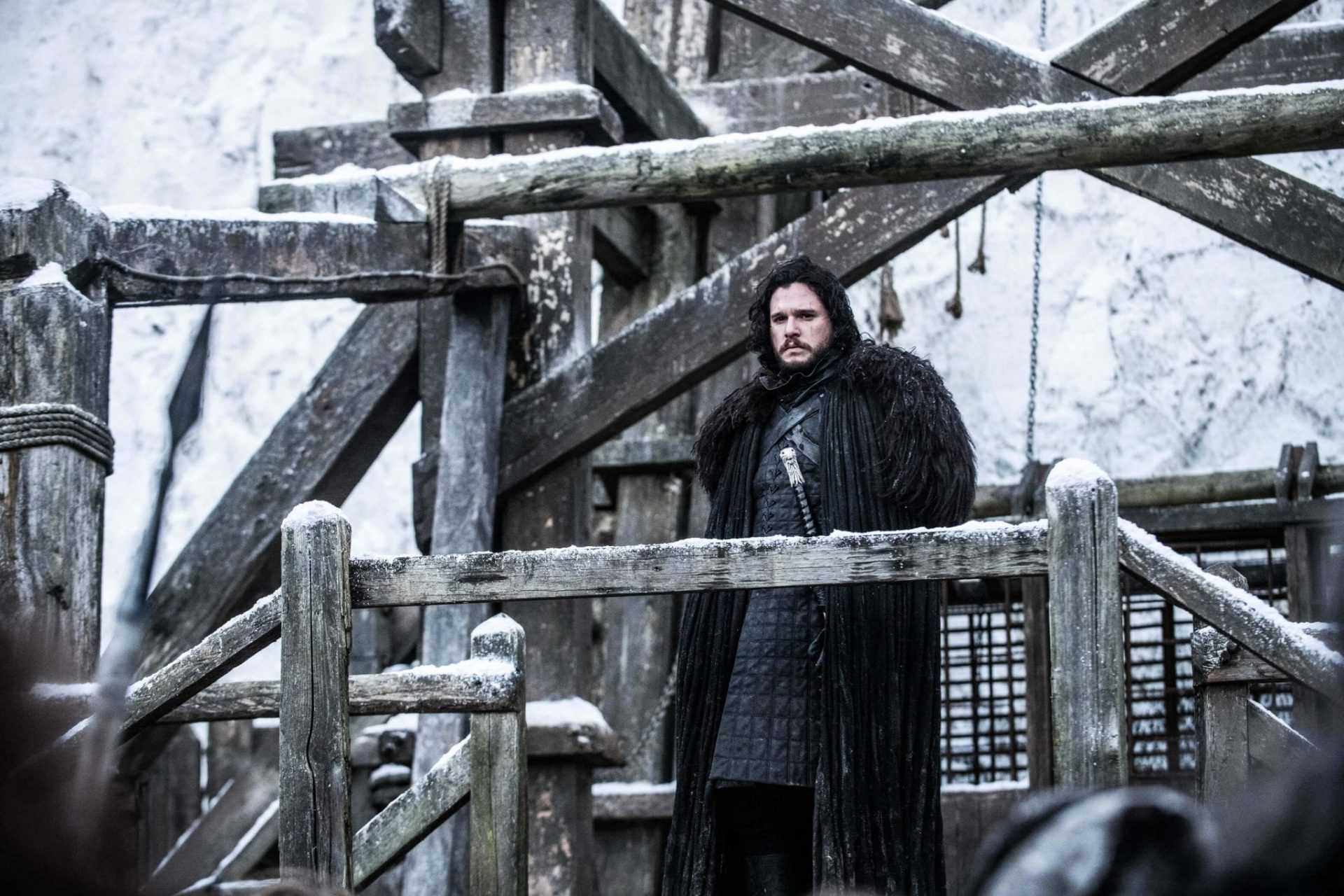Jon Snow na Patrulha da Noite no último episódio de Game of Thrones.
