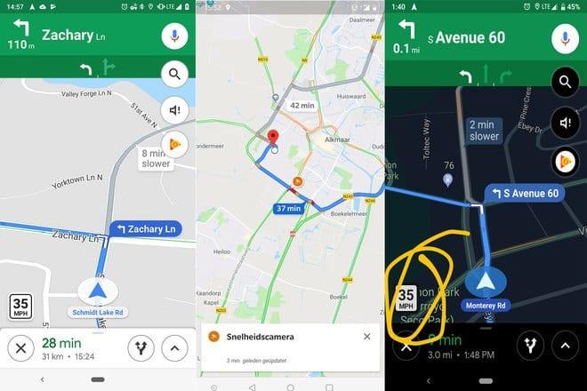 Google Maps Agora é possível ver a velocidade no canto inferior esquerdo do aplicativo
