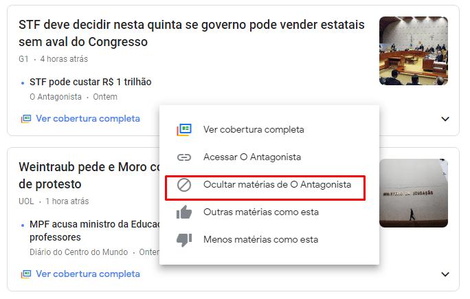 Como ocultar um site no Google Notícias