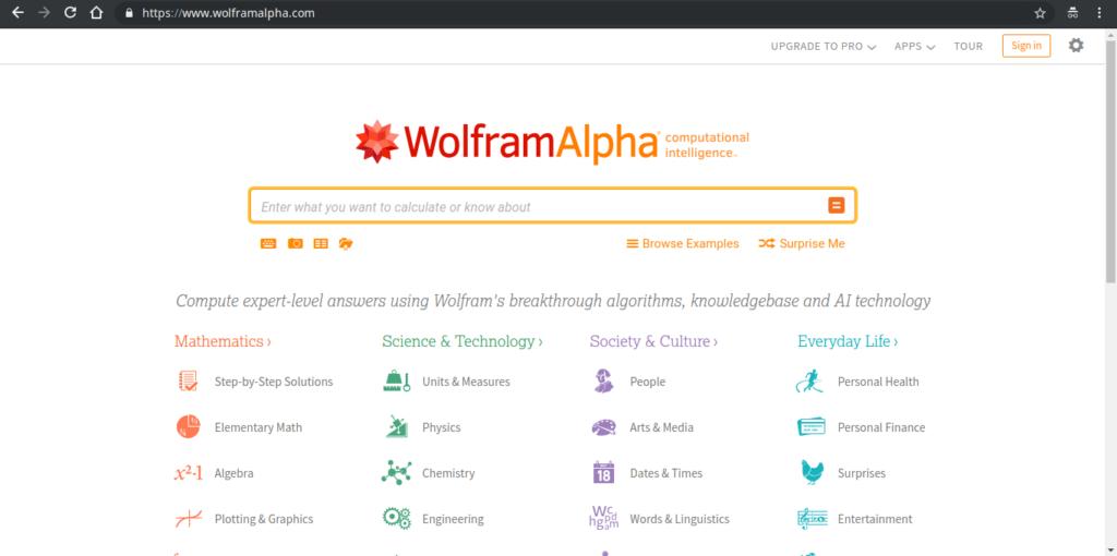 wolfram alpha buscadores alternativos ao Google