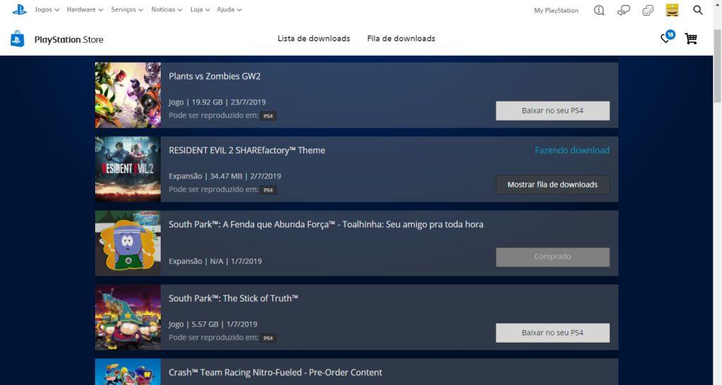 É fácil selecionar jogos para serem baixados no PS4 a partir de um computador.