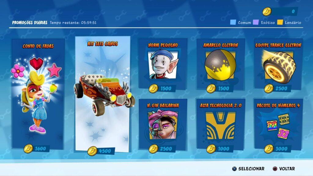 Moedas virtuais compram itens de personalização em Crash Team Racing Nitro-Fueled.