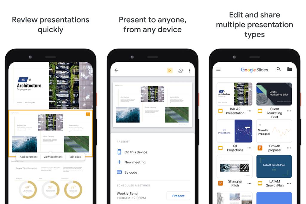 Aplicativo apresentações google para edição de slides no android e iphone