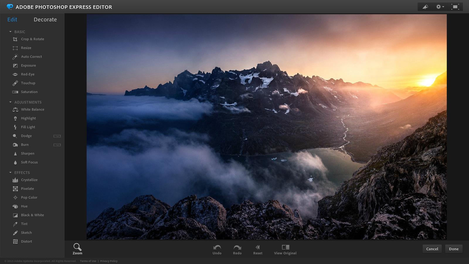 Adobe photoshop express está entre os melhores editores de fotos