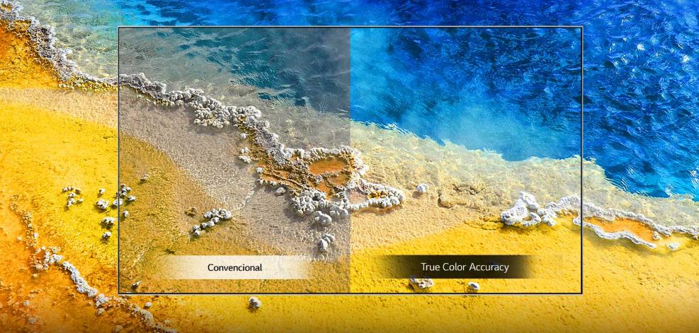 COmparação da TV convencional com a nanocell ai com color accuracy