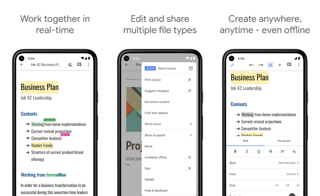 Editor de arquivos em word, aplicativo documentos google para android e iphone