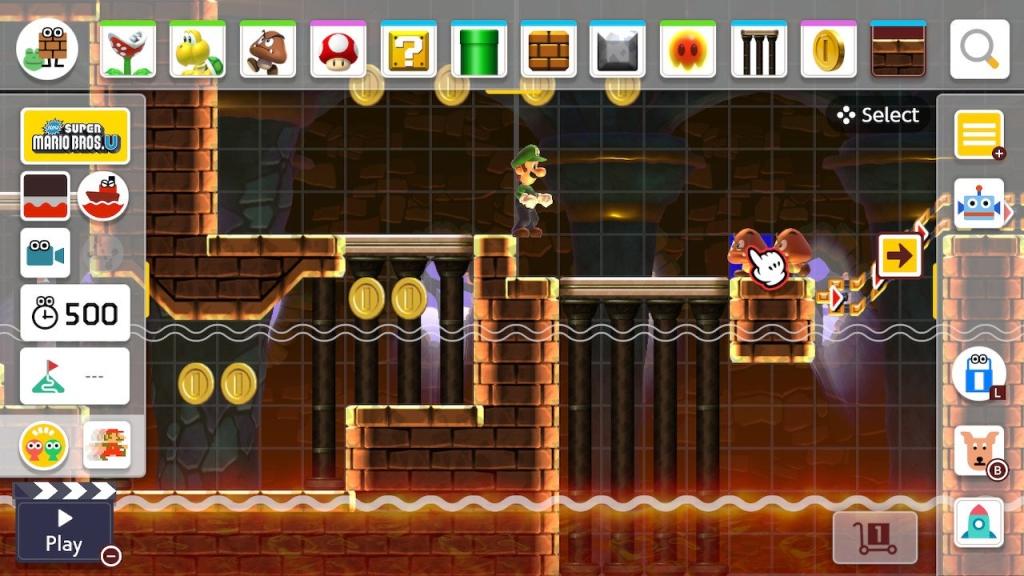 Captura de tela do modo de edição de fases de Super Mario Maker 2