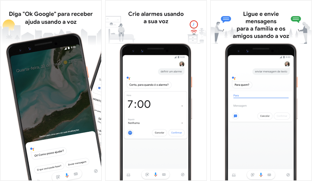 Interface do aplicativo google assistente para android e iphone