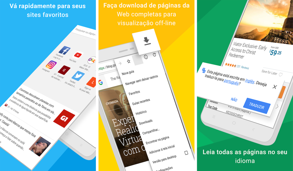 Interface do aplicativo google chrome para android e iphone