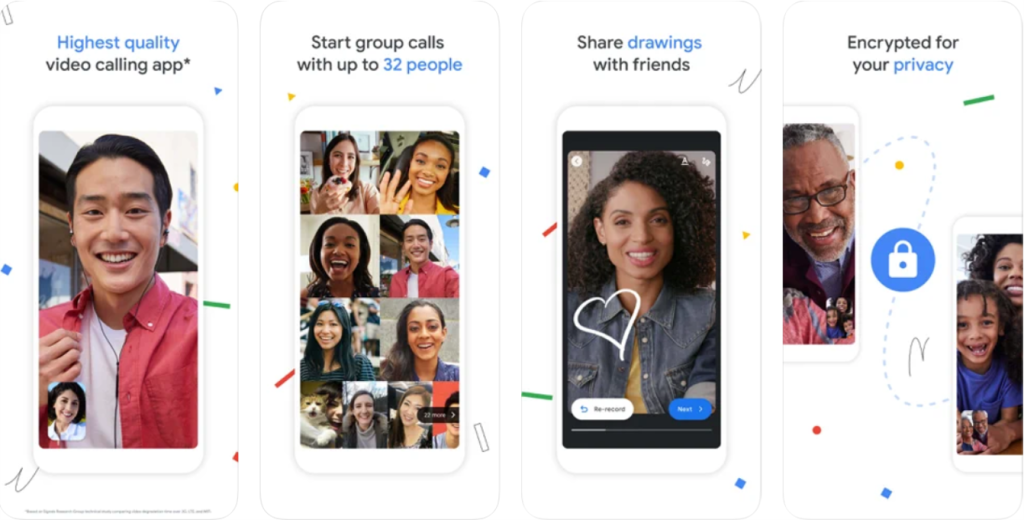 Interface do app google duo para android e iphone