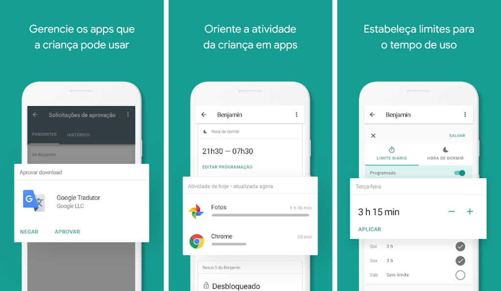 Interface do aplicativo google family link para android e iphone