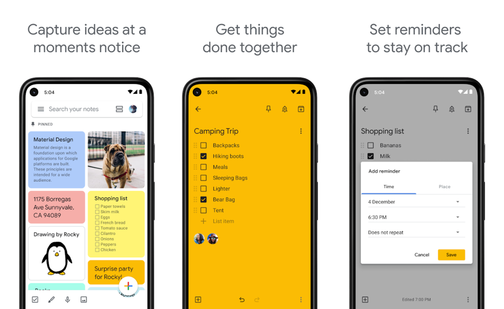 Aplicativo de listas, google keep para android e iphone