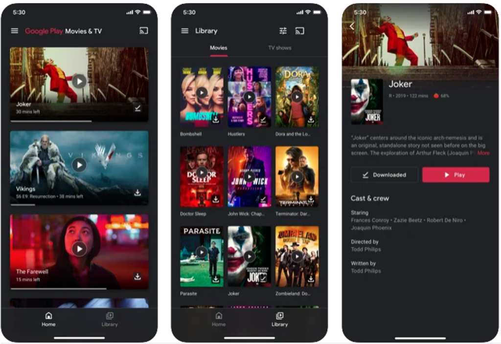 Interface do app google play filmes para android e iphone
