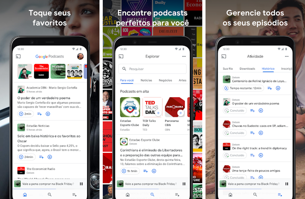 Aplicativo de podcasts, google podcast para android e iphone