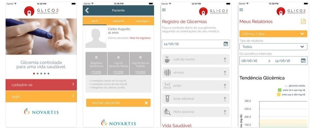 Glico 2 é um aplicativo desenvolvido pela Novartis para apoiar médicos e pacientes no tratamento e controle do diabetes.