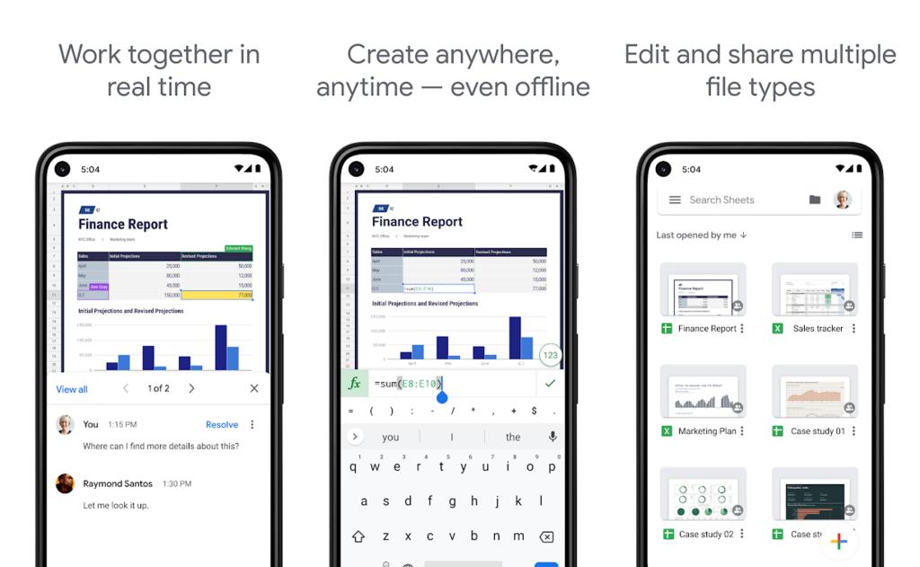 App planilhas google para edição de planilhas no android e iphone