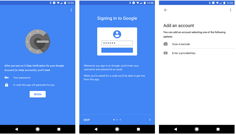 Authenticator aplicativos do Google
