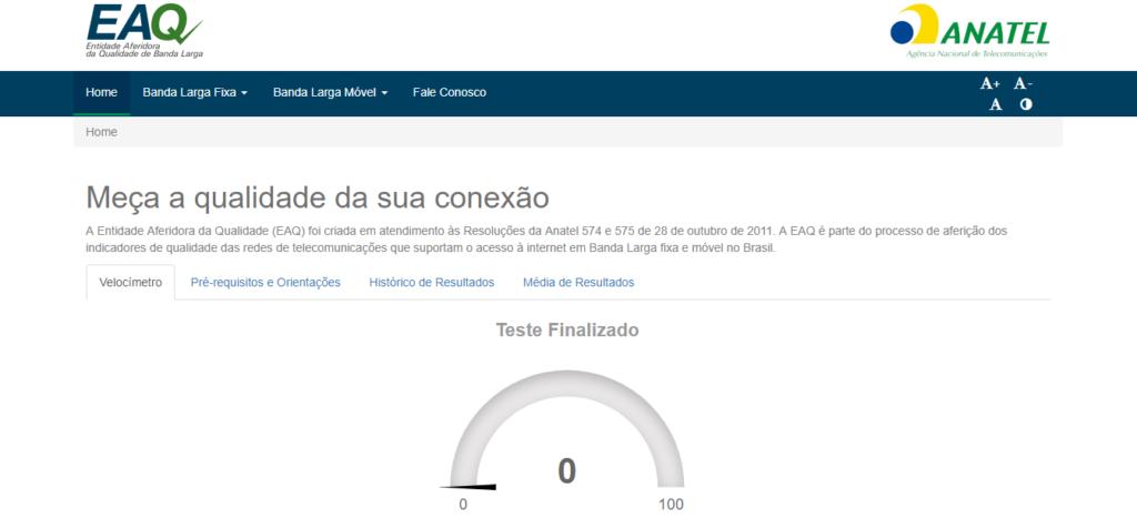Site Brasil Banda Larga para teste de velocidade